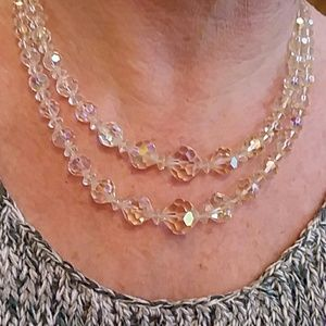 Jewelry - Vintage Cut Glass or Crystal Bead Necklace